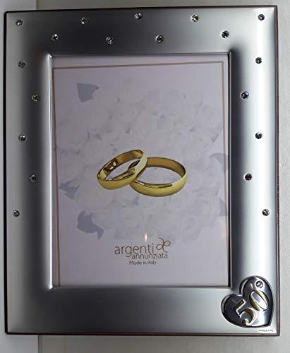 L'ANGOLO BARLETTA BOMBONIERE Regalo 50 Anni Matrimonio Cornice Argento Laminato con Cristalli PORTAFOTO FEDI Nozze Oro Grande