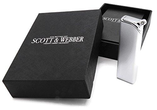 Scott & Webber – Nachfüllbares Gas-Feuerzeug mit windfester Jetflamme, Feuerzeug aus Metall, Sturmfeuerzeug einstellbar bis 1300°C …