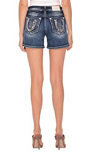 Miss Me Horseshoe Pocket Shorts in Medium Blue Medium Blue 27