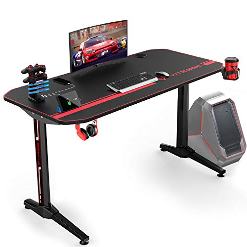 VIT 44 Inch Ergonomic Gaming Desk with USB Gaming Handle Rack&Full Desk Mouse Pad, T-Shaped Office PC Computer Desk, Gamer Tables Pro with Cup Holder&Headphone Hook