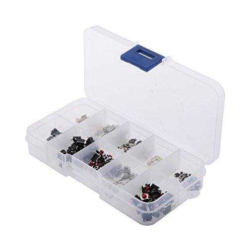 Amagogo 200Pcs 10-Tipos Pulsador Táctil Botón Microinterruptor Táctil Teclas Remotas