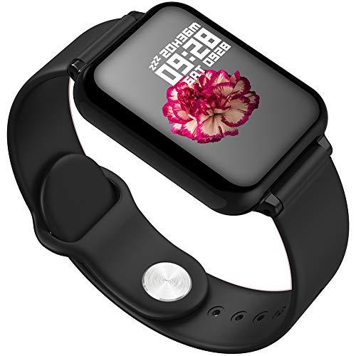20PCS Reloj inteligente, B57 Pantalla a color Reloj inteligente Frecuencia cardíaca Presión arterial Oxígeno en sangre Calorías Luz de sueño profundo Sleep Step Bluetooth Watch Regalo,Negro