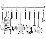 Al-Felice Perchero de acero inoxidable para cocina, barra de cocina con 10 ganchos móviles, soporte de cocina