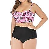 Zylione Bikini Plus Größe Mode Sommer Bademode U-Ausschnitt Tankinis Backless Swimwear Trenddruck Badekleider Strand Schwimmbad Zweiteilige Badeanzug