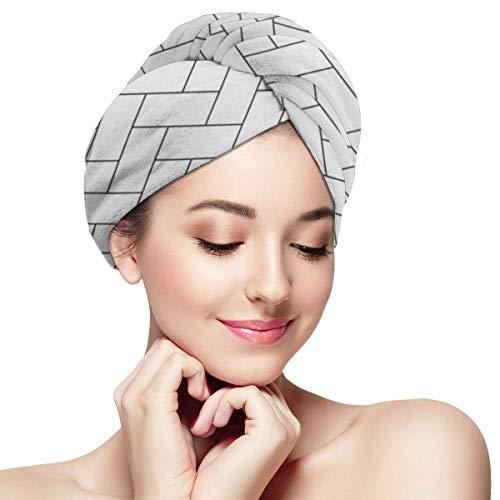 XBFHG Mikrofaser-Handtuchwickel für FrauenSchnelle trockene Haarkappe mit Knopf - Muster Fischgrätenmuster Parkett Diagonal Weiß Holz Abstrakter Pfeil Schwarz