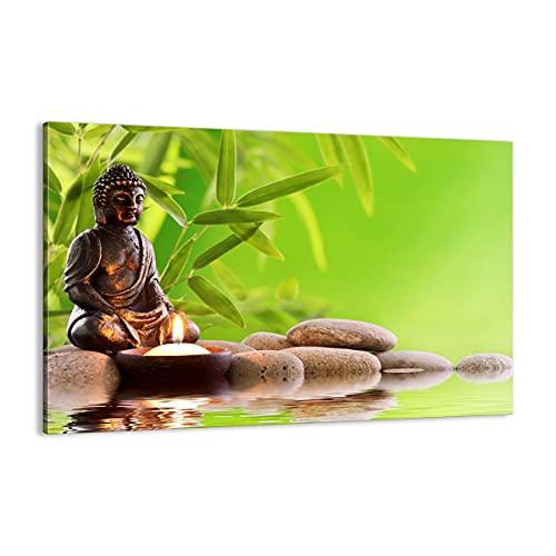 Cuadro sobre lienzo - Impresión de Imagen - Budismo Feng Shui Spa bambú - Imagen Impresión - Cuadros Decoracion - Impresión en lienzo - Cuadros Modernos - Lienzo Decorativo - (AB) 2392
