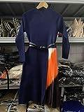 Diseño de Pasarela para Mujer Nuevo Vestido de suéter Plisado de Color Degradado Vestidos Elegantes de Punto Medio de Manga Larga con cinturón L Azul Marino