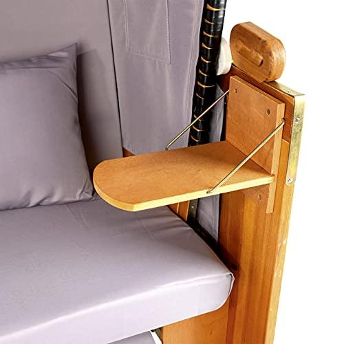 Hoberg 2-Sitzer-Strandkorb (Ostsee), 120x80x160 cm, 5 Liegestufen einstellbar, Rollen mit Feststellbremsen, ausziehbare Fußbänke, 2 Nackenkissen - 5