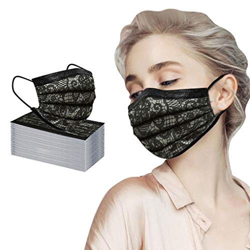 JSPOYOU 50PC Adult Fashion Lace Disposable Protection Three Layer Breathable Face