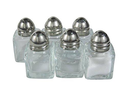 Viva huishoudelijke artikelen 6 mini-zoutvaatjes/ministreuken van glas 2,7 x 2,7 x 4,5 cm #38536#