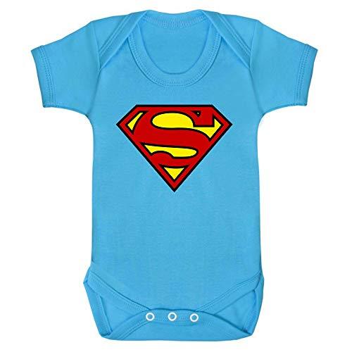 Superman – Body para bebé, unisex, 100% algodón azul claro 6-12 Meses