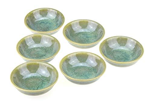 6 x ciotole Enra fatte a mano in ceramica pregiata (verde mare)