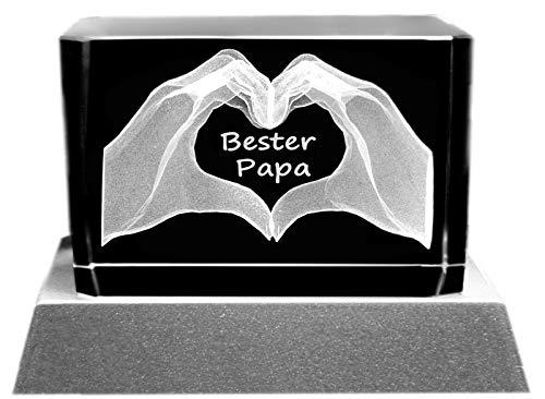 Kaltner Präsente Stimmungslicht - Ein ganz besonderes Geschenk: LED Kerze/Kristall Glasblock / 3D-Laser-Gravur Motiv Hände/Ich liebe Dich/Bester Papa
