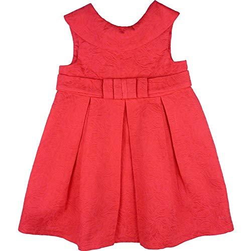 Tutto Piccolo - Vestido con Elegante Escote en la Espalda para niña. Hecho de Jacquard en Color Coral. Cintura con Lazo. Cuello Volante. Forro Interior. Cierre con Botones en la Espalda