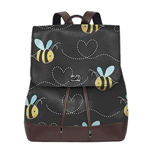 Flyup Yellow Bumblebee Women Leather Backpack for Travel Shopping Casual Laptop Fashion Bag Frauen Leder Rucksack