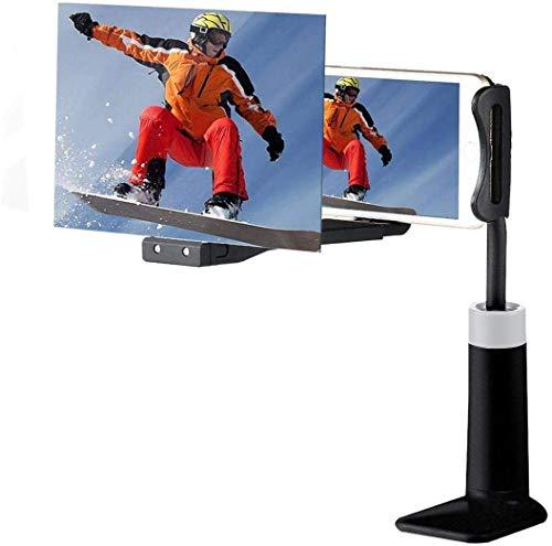 3D telefoon-display vergrootglas, 8 inch HD stereoscopische mobiele telefoon vergrootglas, zwanenhals, flexibele projector, video-versterker, telefoonhouder voor iPhone Android, Clip+Short, Zwart