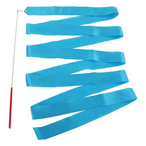E-Goal 4M Gymnastik-Tanz-Band mit Anti-Rutsch-Lange-Stick aus Metall eingegossenes Kabel-Himmelblau