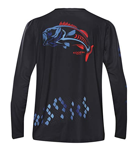 Performance Long Sleeve Bass Fishing Shirt UPF50 Sun Protection Dry-Fit Moisture Wicking Loose Fit
