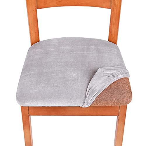 Cutle Stretch Velvet Dining Room Gepolsterte Kissen Stuhlsitzbezüge Abnehmbare Schonbezüge mit waschbarem Möbelschutz Light Grey universal