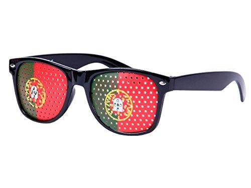Alsino WM Lochbrille Pinehole Fanbrille Fussball Brille Länderbrille Gitterbrille Rasterbrille, wählen:V-1150 Portugal