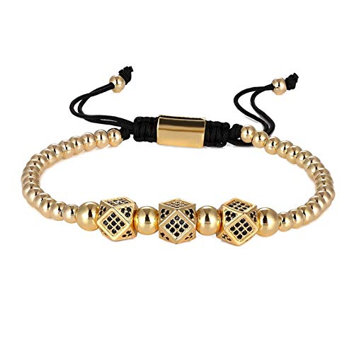 JINGGEGE 3 Pieces/set Punk CZ Micro Pavé Crown Bead Bracelet Men And Women Braided Rope Chain Luxury Fashion Jewelry Gift Size 16-25 Cm (Metal color : Bracelet 1 Gold)