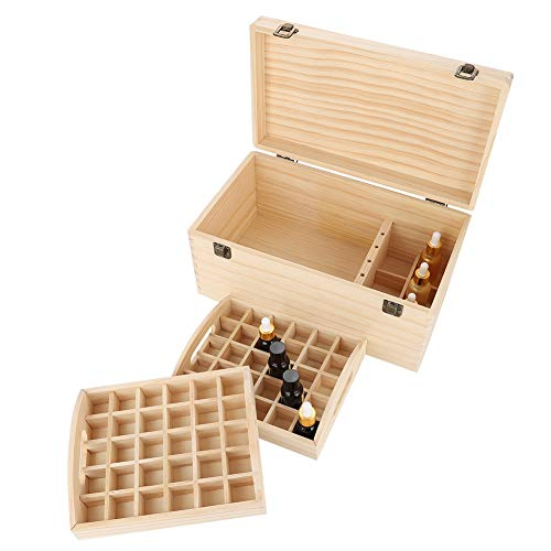 Cocoarm Ätherisches Öl Aufbewahrungsbox Doppelschicht große ätherische Öle Lagerung Inhaber Box 66 Löcher Holz Box Veranstalter Aufbewahrung Koffer Box für Nagellack Duftöle Ätherisches Öl