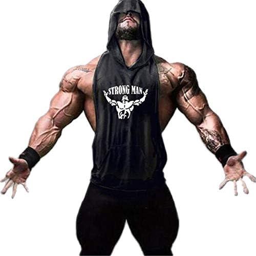 Hombre Camisetas sin Mangas De Fitness Tirantes Culturismo con Capucha Sweatshirt