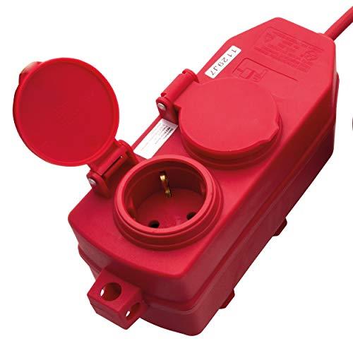 REV Ritter 0577006555 Verlängerung 4-fach mit Schutzkontakt H05VV-F 1.5 mm², 10 m, rot