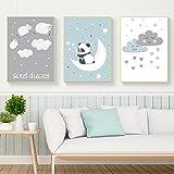 JTM Panda Mignon Mouton Mur Photos pour Salon Nuages Blancs Nordique Affiche Pépinière Cuadros Bébé Chambre Décoration de La...