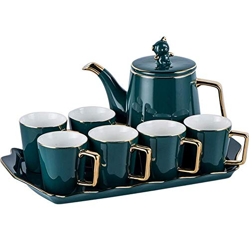 TEAYASON Tea Cup Set European Style Home Creative Coffee Cup Sete with Afternoon Tea Cup Set Tea Set Service Coffee Set (Color : Green, Size : One Size),Green,One Size