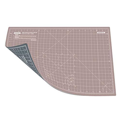 ANSIO Faltbare selbstheilende Schneidematte A3. Ideal zum Basteln, Quilten, Nähen, Scrapbooking, Stoff- und Papierhandwerk - Imperial/Metric 17 x 11 Zoll / 42 x 27 cm - Braun/Grau