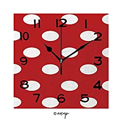 FashSam Frameless Decorative Clock Jumbo and Small Polka Dot and Diagonal Stripes Patterns in Red, Black and White Color 8 Inch Square Wall Clock for Living Room Bedroom Office Hotel No-25767