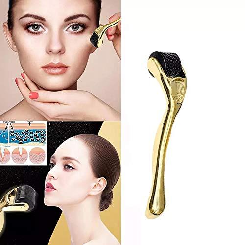 LLDY Dermaroller 540 Edelstahl Micro Needle Roller effektiv gegen Akne, Falten, Dehnungsstreifen, Haarverlust, Narben und Hyper-Pigmentierun,Gold,0.25MM