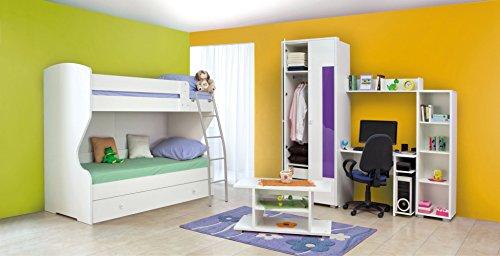 Jugendzimmer Komplett - Set V Gabriel, 7-teilig, Farbe: Weiß/Lila
