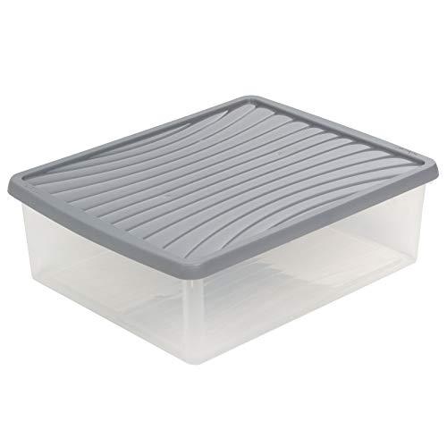 Aufbewahrungsbox mit Deckel DIN A3 24L Kunststoffbox Organizer Stapelbox Stapelkiste Plastikbox Kunststoff Behälter Regalbox Kiste Transportbox Grau Universal Box Transparent Ordnungshelfer Lagerung
