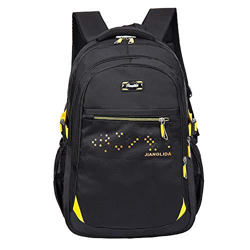 HYPPT Kindersportrucksäcke Schulrucksack, Studententaschen für Jungen wasserdichte Reisetasche Rucksack für Jugendliche 14-Zoll-Laptop-Rucksack Casual Daypack Rucksack-yellow
