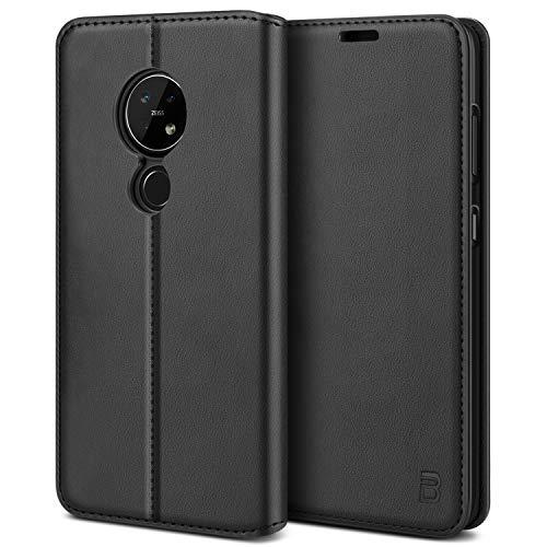 BEZ Handyhülle für Nokia 7.2 Hülle, Premium Tasche Kompatibel für Nokia 7.2, Schutzhüllen aus Klappetui mit Kreditkartenhaltern, Ständer, Magnetverschluss, Schwarz