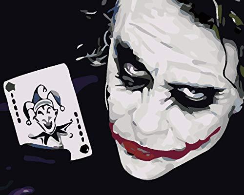 zpbzambm DIY Malen Nach Zahlen-Wandbild-Wand-Art-Deco-Druck Auf Leinwand-Digitales Ölgemälde Set-Geschenke Für Kinder Übe Das Zeichnen-Joker Poker,40X50Cm,Ohne Rahmen,S479