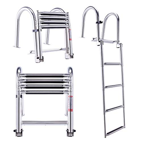 CO-Z 4-Step Collapsible Pool Ladder | Telescoping Boat Ladder with Stainless Steel Construction & Handrails for Swimming Pools Pontoons Docks and More | Folding Step Ladder with 330lb Weight Capacity