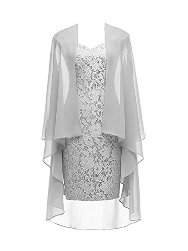 Column 3/4 Sleeves Lace Chiffon Short Wedding Mother Evening Dresses Formal Silver Size 12