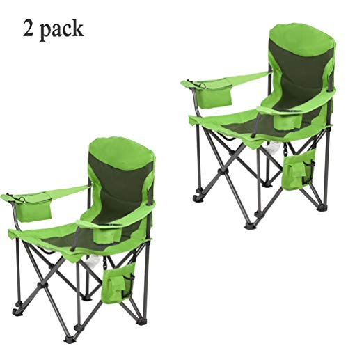 Buiten Heavy Duty Camp Stoel-Ergonomische Hoge Terug Oversized Vouwstaal Hoge Gewicht Capaciteit Grote Hoge Hoge Quad Seat-Cup Houder, Draagtas-Tailgating, Camping, Vissen, Strandstoelen Groen