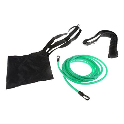 MagiDeal Schwimmgurt mit Bremsschirm und Elastikband für Erwachsene und Kinder Widerstandstraining oder Rundentraining - Schwarz + Grün