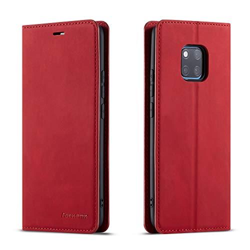 QLTYPRI Hülle für Huawei Mate 20 Pro, Premium Dünne Ledertasche Handyhülle mit Kartenfach Ständer Flip Schutzhülle Kompatibel mit Huawei Mate 20 Pro - Rot