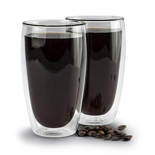 Ambition 96852 Doppelwandige Latte Macchiato Gläser Set Mia 2 St. 450 ml Thermoglas hitzebeständig Kaffee Tee warme kalte Getränke Geschenk, 450 milliliters