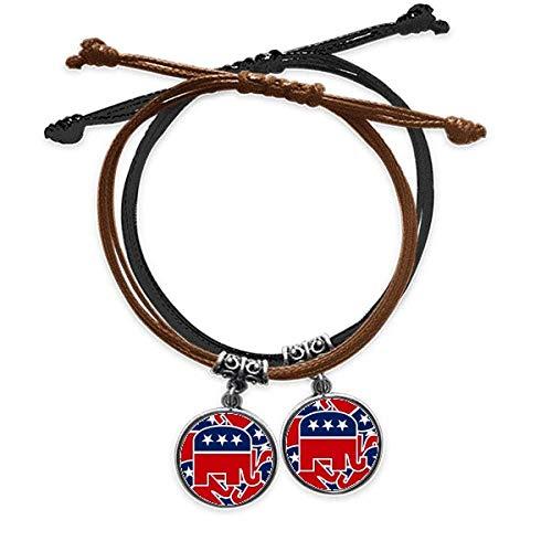 Diythinker - Pulsera de piel con diseño de elefante republicano con símbolo del américo