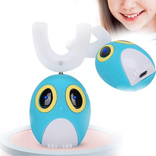 Cepillo de dientes automático en forma de U, cepillo de dientes eléctrico de dibujos animados para niños con cabezal de gel de sílice suave 360°, limpieza oral inteligente sónico (7-12 años de edad)