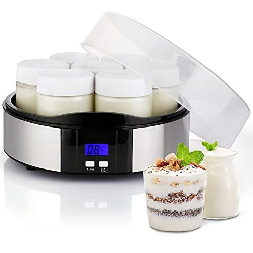 Elektrischer Joghurtbereiter, Joghurtmaschine mit 7 Gläsern aus Glas mit 200 ml, LCD-Display und automatischer Abschaltung, kompakt, Joghurtbereiter, aus Edelstahl, für Joghurt, Käse, Desserts