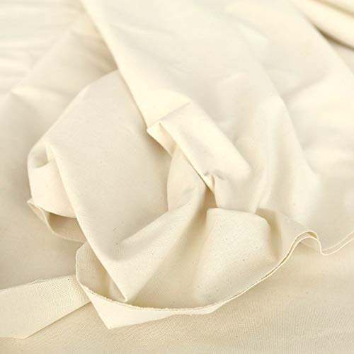 TOLKO Nessel Natur ROH-Baumwolle | 3,20 m breit | Dekostoff Gardinenstoff Segeltuch Stoff für preiswerten Sonnenschutz | zum Nähen Dekorieren Bemalen für Hochzeit Party Meterware Baumwollstoff
