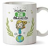 Mugffins Zia Tazza/Mug – Migliore Zia del Mondo - Idea Regalo Originale di Compleanno - Tazza Migliore Zia in Ceramica. 350 ml