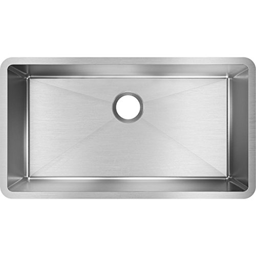 "Elkay Crosstown EFRU311610T 32.5"" x 18"" x 10"" Single Bowl Undermount Stainless Steel Kitchen Sink, Polished Satin"